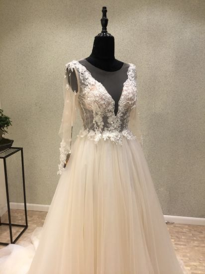 Long Sleeve Beading Lace Evening Bridal Wedding Dresses pictures & photos