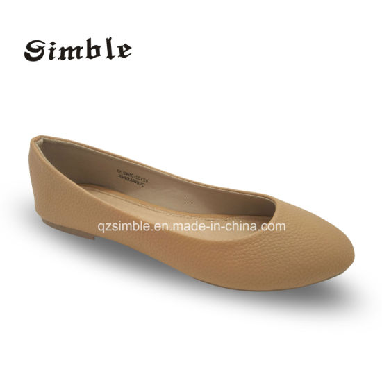 Lady Casual Flat Heel Snack PU Upper Ballerina Shoes