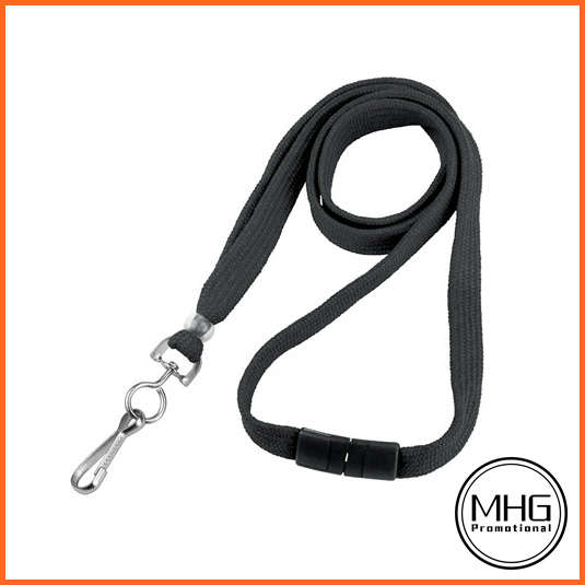 "3/8"" Black Flat Lanyard with Swivel Hook and Breakaway"