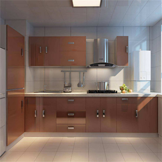 Quartz Countertop MDF Kitchen Cabinet with Tall Cabinet Basket