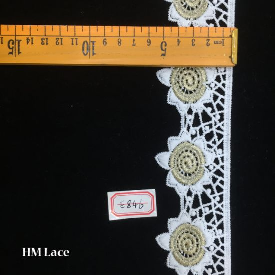 5.5cm Light Gold Embroidery Lace Bridal Wedding Dress Appliques Patches Hme846