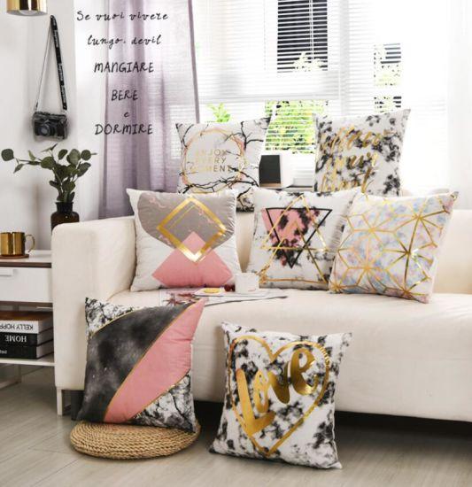 Super Soft Print Pillow Cushion, Simple Home Gold Velvet Rose Gold Powder Pillow Cushion