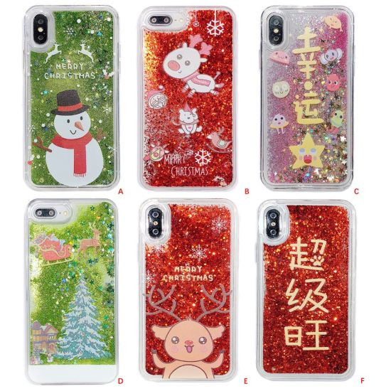 Cover 3D Flowing Quicksand Snowflake Christmas Tree Santa Claus Clear PC Case pictures & photos