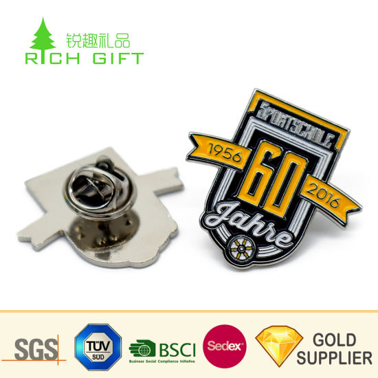 China Manufacturer Wholesale Custom Metal Brass Silver Plating Letter Soft Enamel Sublimation Printing Anniversary Soccer Football Club Logo Lapel Pin Badges