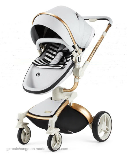 2018 Amazon Hot Sell New Model Baby Stroller 2 In 1 Leather Carriage Car Seat Folding