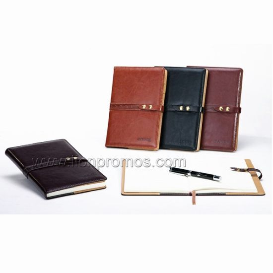 Corporate Business Gift Custom Logo Embossed PU Leather Cover Notebook with Button Closure pictures & photos