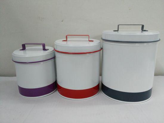 3 Piece Galvanized Round Storage Tin Storage Box