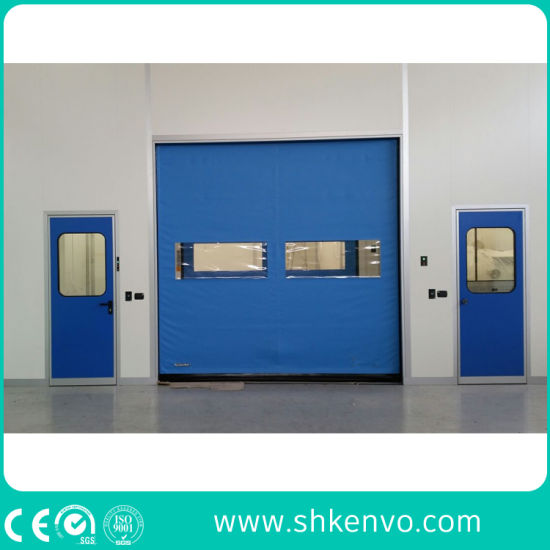 Industrial Automatic Overhead PVC Fabric High Speed Fast Acting Roll up Doors for Clean Room