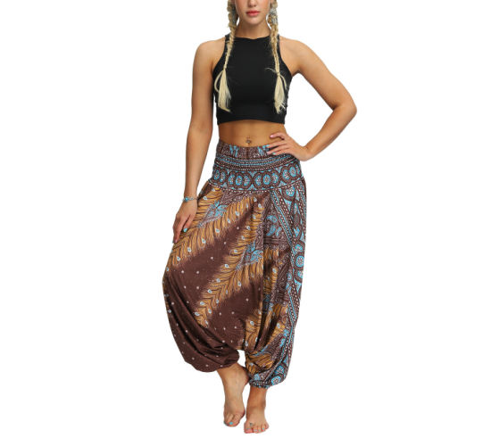 China Women S Boho Pants Hippie Baggy Harem Yoga Outfits Peacock Design Women Loose Yoga Wide Leg Hippie Pants Travel Lounge Casual Beach Esg13623 China Pants And Women Pants Price