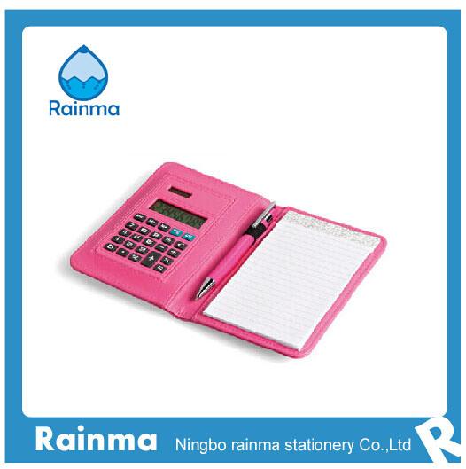 Mini Calculator in Leather Organizer Notebook