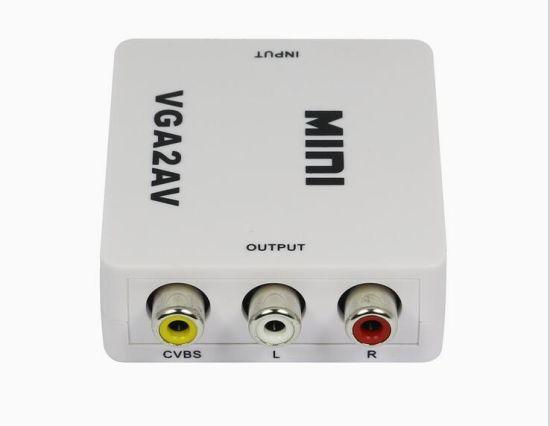 Mini VGA to AV RCA Converter with 3.5mm Audio for HDTV PC