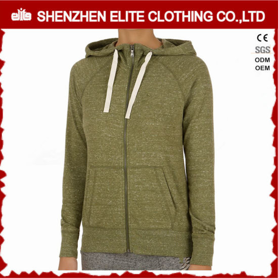 Wholesale Women′s Olive Green Zip up Plain Gym Hoodies (ELTWGHI-14) 21c16820f