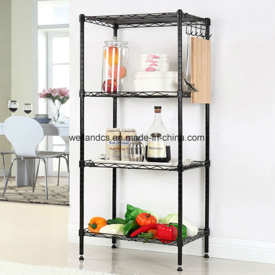 Adjustable 4 Tier Powder Coated Black Wire Shelving Unit Kitchen Food Pantry Storage Shelf Accessories