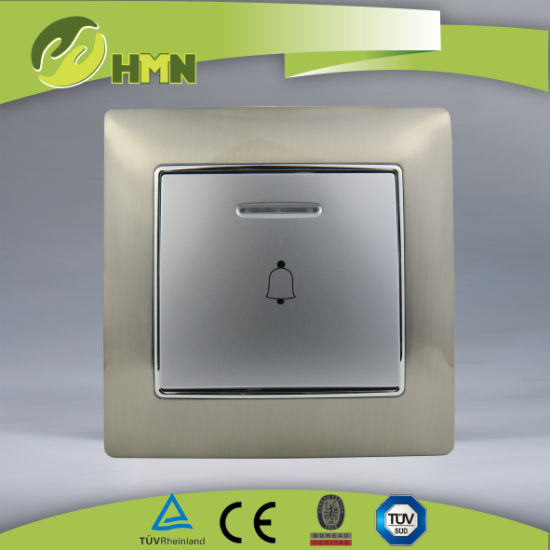 Ce/TUV/BV Certified European Standard Metal Zinc 1Gang With LED Silver Bell Push Switch