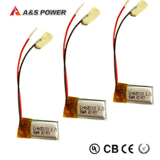 UL 351121 Rechargeable 3.7V 45mAh Lithium Polymer Battery pictures & photos
