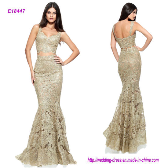Sexy Two-Piece Sleeveless Gold Lace Mermaid Prom Dress
