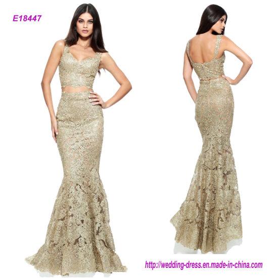 f82a9a91baa6 China Sexy Two-Piece Sleeveless Gold Lace Mermaid Prom Dress - China ...