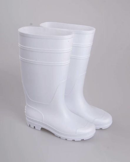 White PVC Safety Food Rain Boots pictures & photos