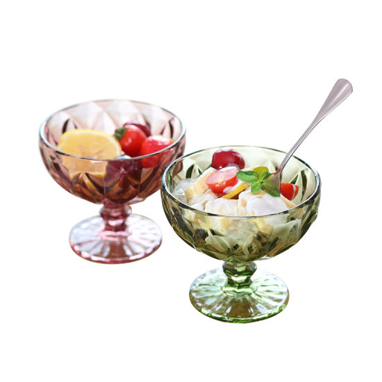 Hot Sell Colorful Glass Icecream Cup with Pattern Deisgn Surface