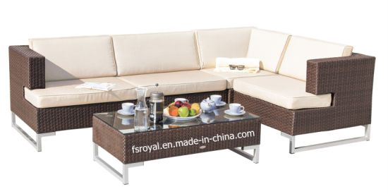Chinese Wicker Rattan Outdoor Garden Corner Sofa Set Furniture
