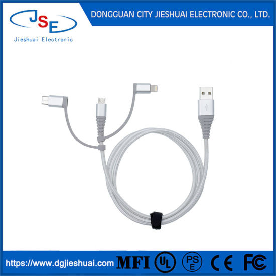 Mfi Certified TPE Shell 3 in 1 Charge and Sync USB Lightning Data Cable for Android for iPhone
