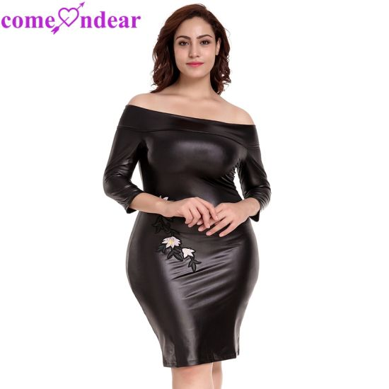 Plus Size Black off-Shoulder Embroidery Leather Dress - China Dress ...