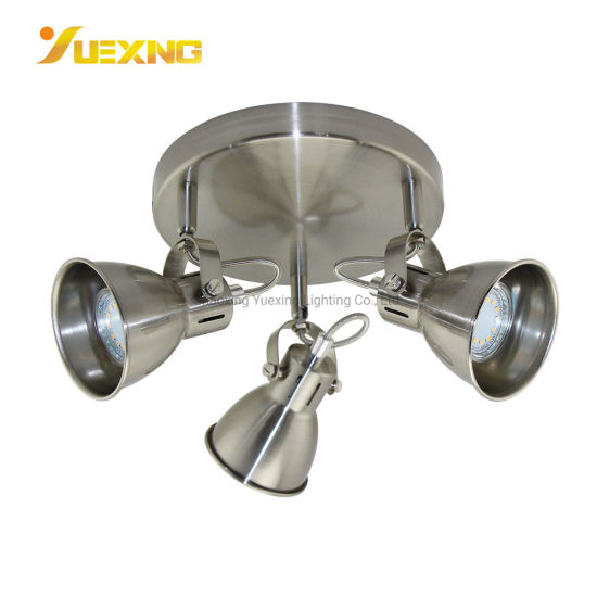 Satin Nickel Energy Saving GU10 3*Max50W Round LED Decoration Lamp Chandelier Spot Light Bulb Ceiling Lamp