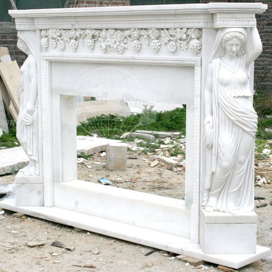 White Stone Sculpture Women Statues Marble Fireplace Mantel (GSMF-155) pictures & photos