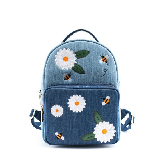 2019 New College Female Denim Rucksack Casual Flower Embroidered Backpack pictures & photos