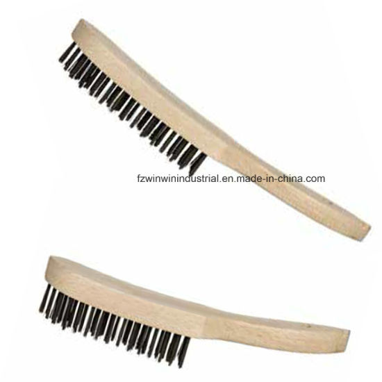 Beech Wooden Handle Steel Wire Brush (WW-WWB02) pictures & photos