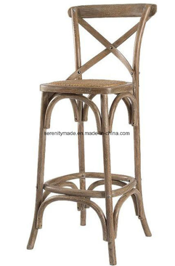 Modern Wooden Farmhouse Cross Back Bar Stool For Kitchen With Rattan Seat