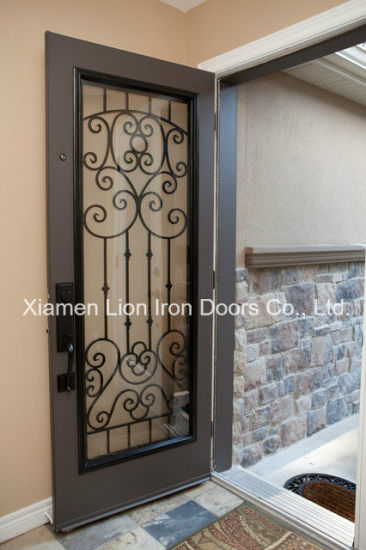 China Wood Painted Wrought Iron Grill Design For Front Door China