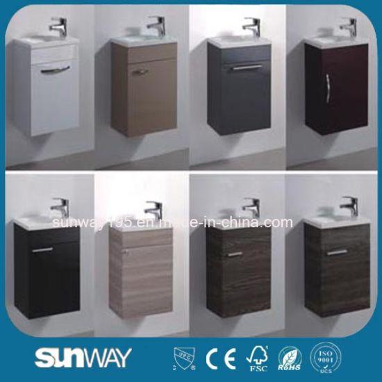 2018 European Modern Small Home Decor Waterproof White Gl Basin Bathroom Vanities