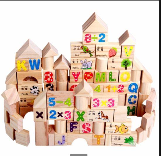 103PCS Original Wood Kids Early Educational DIY Magnetic Building Blocks Castle