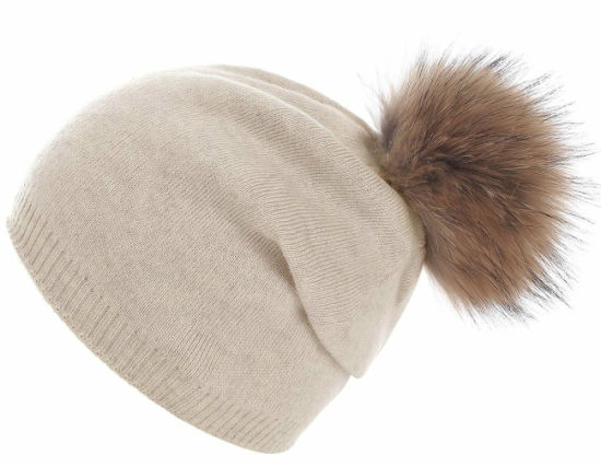 1a49174cc9e Wholesale Winter Women Warm Knitted Acrylic Real Fur Hat with Removable POM  POM