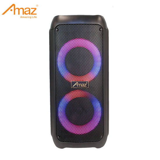 Dual 6.5 Inch Subwoofer Outdoor Portable Rechargeable Trolley Speaker with Circle Lights