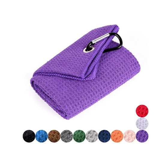 Hot Selling Standard Size Microfiber Chamois Letter Golf Cart Towel with Clip