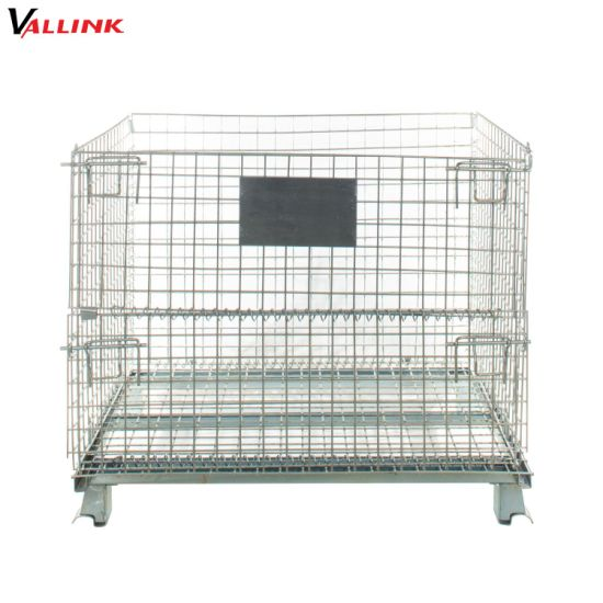 Warehouse Storage Folding Galvanized Steel Collapsible Wire Mesh Cage Container