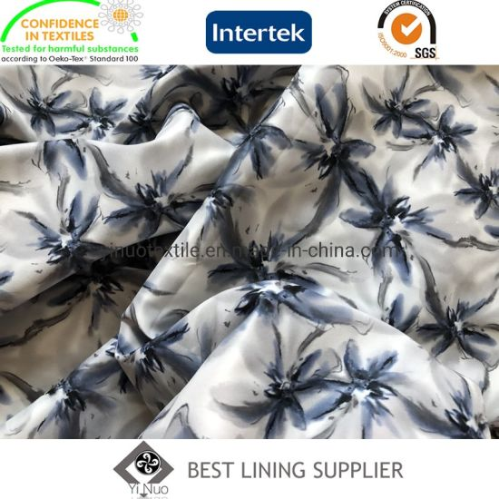Polyester Stretch Flower Print Lining Fabric for Lady Garment