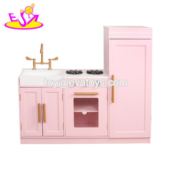 China New Design Wooden Pink Kids Kitchen Set With Low Price