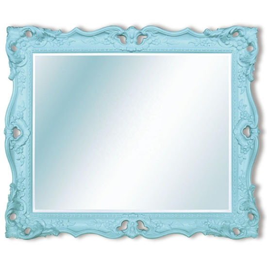 Banruo Customized French Style Ornate PU Rectangular Mirror Frame for Bathroom Decoration