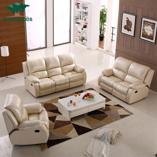 Wholesale Modern Leisure Leather Reclining Home Furniture Living Room Sofa