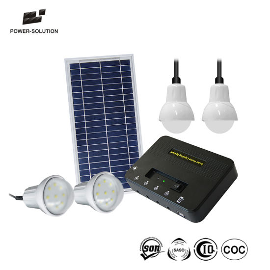 Solar Energy Home Lighting System With 4 Led Bulbs For Areas