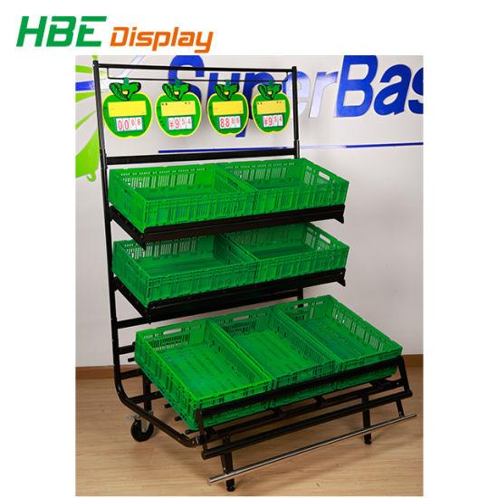 Supermarket Equipment 3 Layer Fruit Shop Display Shelf Vegetable Rack