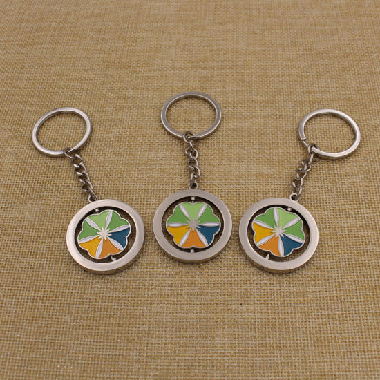 China Customized Soft Enamel Metal Silver Rotate Spinning Keychain