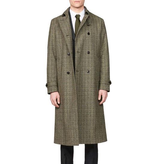 Fashion Long Overcoat for Mens Autumn Winter Men's Plaid Coat