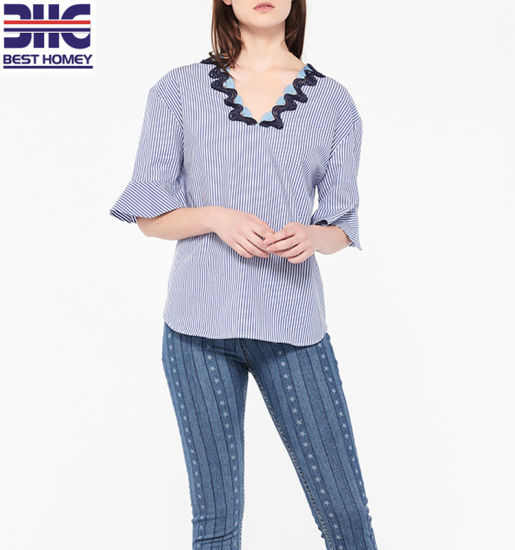 19ab961881eb6c Womens V Neck Short Flares Sleeves Cotton Large All-Over Striped Blouse  Lace Trim Top