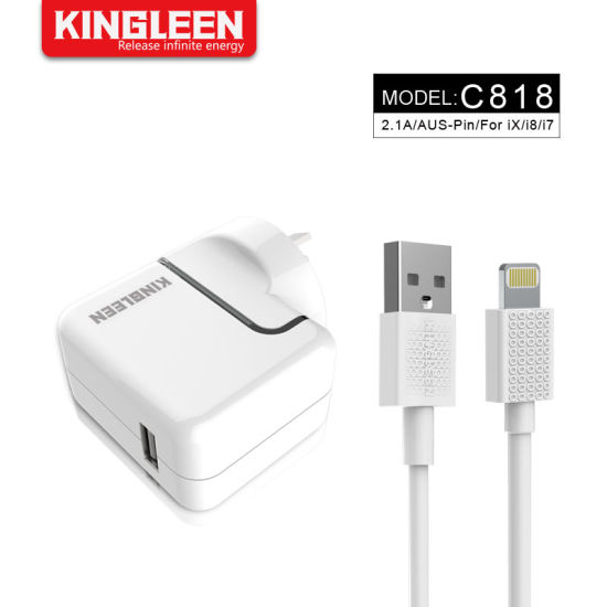 3FT/1m Lightning Charging Cable + 2.1A Dual USB Home Wall Travel Adapter Charger Kit for iPhone X 8 7 6 Plus