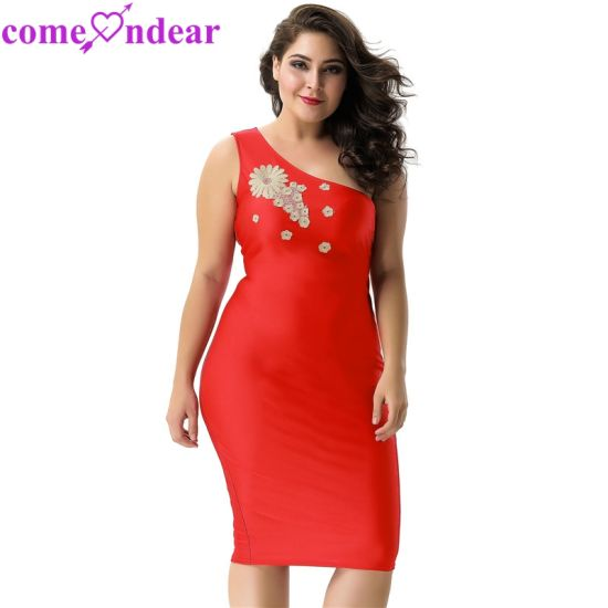 Plus Size Delicate Red One-Shoulder Bodycon Dress