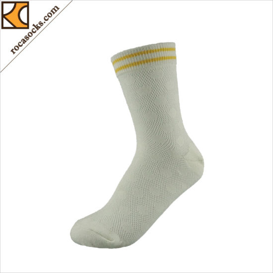 165075SK-Custom Logo Cotton Women Dress White Socks pictures & photos
